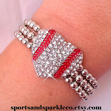 Sporty Rhinestone Crystal Baseball Heart Stretch Bracelet