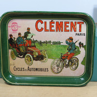 Vintage Metal Serving Tray Clement Paris Cycles & Automobiles . Colorful Fun Barware . WWI Military Scene