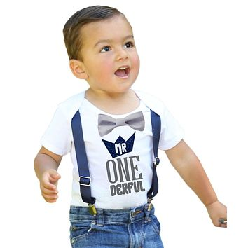 Mr Onederful First Birthday Shirt Navy and Grey with Suspenders