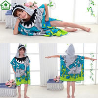 New 60x120cm Children Cute Cartoon Hooded Cloak Beach Towel Animal Shark/Butterfly Printed Microfiber Boys Girls Kids Bath Towel