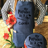 Harry potter Apron Cupcake jean apron Patronus is a Cupcake Harry potter funny Harry Potter Kitchen Hogwarts spell magic Harry potter Gift