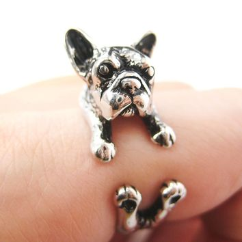 French Bulldog Puppy Dog Animal Wrap Around Ring in Shiny Silver - Sizes 4 to 9