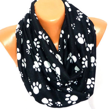 infinity Scarf, Loop Scarf, Dog Paw Painted Scarf, Cat Paw Patterned, Cat footprint Scarf, Women Fashion Accessory, Gift for Valentines