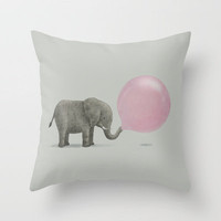 Jumbo Bubble Gum Throw Pillow by Terry Fan | Society6