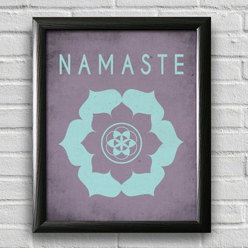 Namaste Lotus,Yoga Print, Yoga Studio Decor, Typography Poster, Wall Art, Inspirational Print, Yoga Poster, Motivational Art