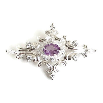 Sterling Silver and Amethyst Brooch, Vintage Statement Brooch, Silver Brooch, Amethyst Pin, 925 Pin, Mother of the Bride Jewelry, Bridesmaid