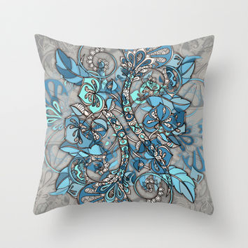 Let Me Lead You - blue grey doodle pattern Throw Pillow by micklyn