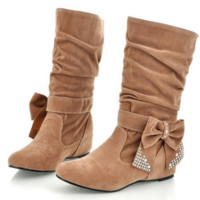Lovely Mid Calf Rhinestone Bowtie Faux Suede Boots