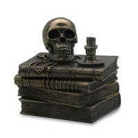 Wizard\'s Study Trinket Box With Skull And Candle