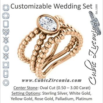CZ Wedding Set, featuring The Maria Leeslii engagement ring (Customizable Bezel-set Oval Cut Solitaire with Wide Beaded-Metal Split-Band)