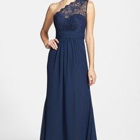 Women's Jim Hjelm Occasions One-Shoulder Lace & Chiffon