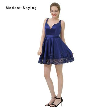Sexy Backless Blue A-Line Short Cocktail Dresses 2018 with Straps Girls Mini Cut-Out Homecoming Prom Gowns vestidos de coctel