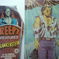 Rare Vintage HG Toys Inc Creepy Creatures Frankenstein Monster Jigsaw Puzzle Collectable Lg 20 in T 100 pcs Good Cond w Original Crypt Box