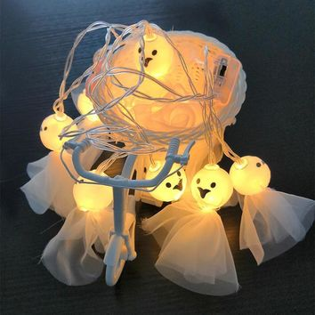 2M 10LEDS Battery Operated Halloween Pumpkin Shantou ghost LED String Lights Halloween Party Home Garden Decorative Lights