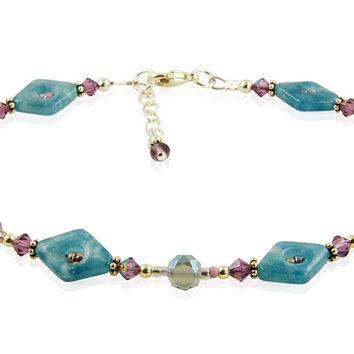 Purple Blue Quartz Gemstone Anklet