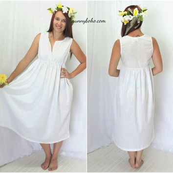 White cotton maxi dress S white embroidered boho beach sun dress cotton white maxi peasant dress SunnyBohoVintage