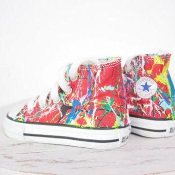 DCKL9 Kid's LowTop or HighTop Splatter Painted Converse or Vans Sneakers Size 10.5-3, Custom