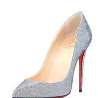 Christian Louboutin Pigalle Follies Glitter Red Sole Pump, Silver