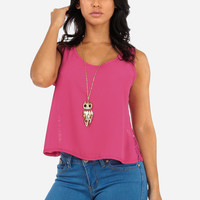 Back Lace Pink Sleeveless Top With Necklace