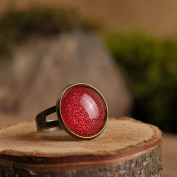 Red ring, adjustable ring, antique brass ring, bright red ring, red shiny ring, statement ring, glass ring, jewelry gift