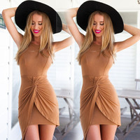 Asymmetrical Ruched Front Bodycon Dress