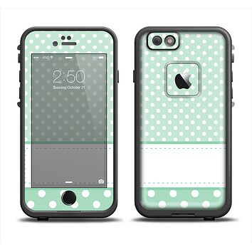 The Vintage Light Green Polka Dot With White Strip Apple iPhone 6 LifeProof Fre Case Skin Set