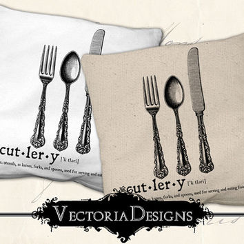 Cutlery dictionary digital transfer image iron on printable instant download digital collage sheet VD0661