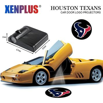 Xenplus 2pcs Car Door Welcome Lights for Houston Texans Logo LED Wireless Laser Projector NFL Decorative Lamp Batman Spiderman