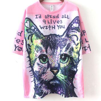 DCCKR2 Cat Color Printing Sequins Beaded Loose Short-sleeved T-shirt Top F0366-1 Red