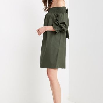 Halston Off the Shoulder Shift Dress