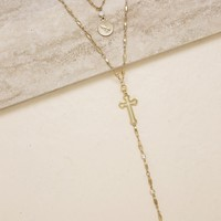 Elevated Layers Cross Lariat Necklace