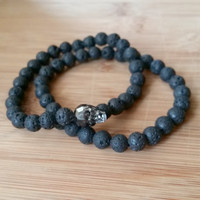 Mens Skull and black lava stone bracelet set swarovski crystal skeleton stretch boho wrap beaded bohemian mens fashion gift set
