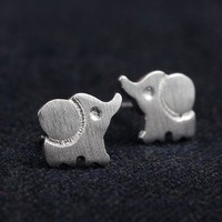 Silver Cute Elephant Fashion Earrings - LilyFair Jewelry