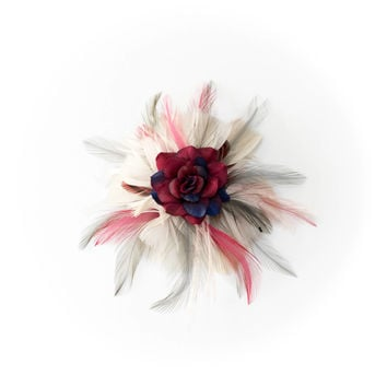 Maroon Rose Feather Flower Clip