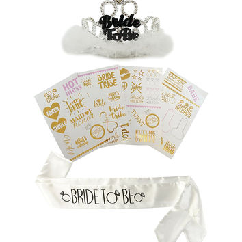 PartyFuFu Bachelorette Party Tattoos Mixed Set of 40 Gold Temporary Flash Tattoos W/ Bride to Be Sash & Tiara