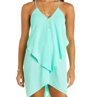 Draped & Caped Ruffle Trapeze Dress by Charlotte Russe - Mint