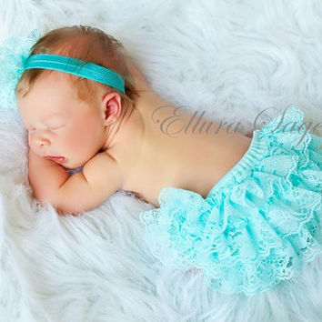 Aqua Lace Ruffle Baby Bloomers AND Headband SET, Lace Diaper Covers, Lace Headband  - Baby Bloomers,  Baby Headbands, Photography Prop