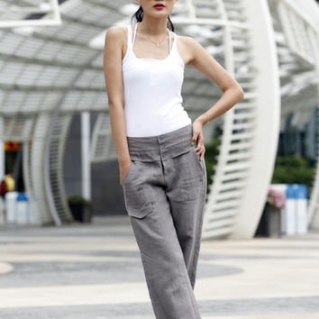 Elegance Casual Splicing Edging Straight Pants in Grey - NC401