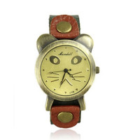 Women's Cat Face Leather Watch Color Green
