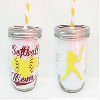 Personalized Mason Jar * Softball Mom * Tumbler * 24oz Mason jar Tumbler * Personalized tumbler * Customized Mason Jar * Customized Tumbler