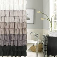 Dainty Home Flamenco Ruffled Shower Curtain, 72 by 72-Inch, Black/White