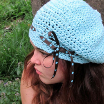 Cotton Robin Blue French Beret, Hipster Hat with Ribbon Trim, Polka Dot