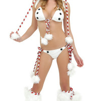 Dot Christmas Snowman Bikini Costume Set