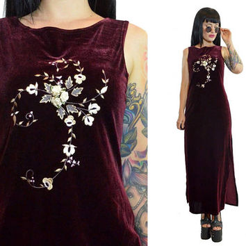 vintage 90s burgundy velvet floral embroidered maxi dress rosette CUTE soft grunge boho plum red wine romantic dress small