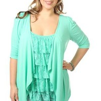 plus size cardigan 2fer top with lace tiered inset - debshops.com
