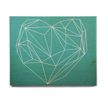"Mareike Boehmer ""Heart Graphic Turquoise"" Teal Abstract Birchwood Wall Art"