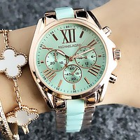 MK Popular Women Personality Ceramic Wristwatch Business Quartz Watch Green I13277-1
