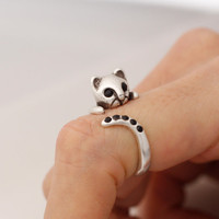 Kitty Cat Adjustable Animal Rings,  Ring Women's Teen's Retro Burnished Jewelry Black Crystal Wrap Ring