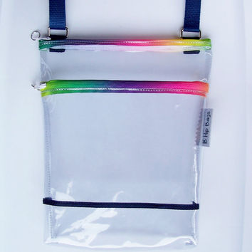 Clear Transparent Vinyl Rainbow Color Zippers Stadium Security PGA Tour Small Zipper Hipster/Shoulder/Crossbody Bag/Purse/Game Day/Gift Idea