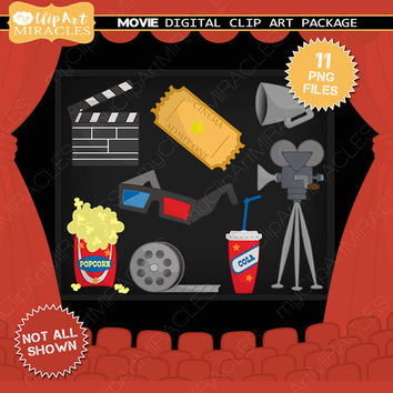 Digital movie clipart, Cinema clip art, Movie party decoration, Cinema scrapbook elements / instant download png clip art package